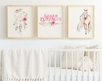 PERSONALIZED Dreamcatcher Watercolor Print Set Horse Pony Wildflower Baby Girl Nursery Digital Download Rustic Romance Sweet Girly Natural