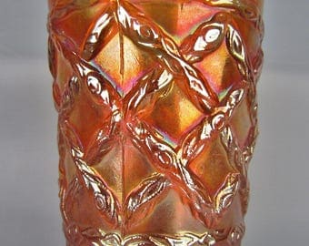 Dugan Carnival Glass - GRAPEVINE LATTICE Marigold Tumbler