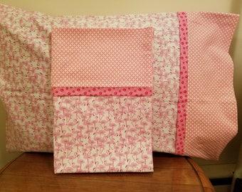 Set of 2 Pillowcases with Flamingo Print