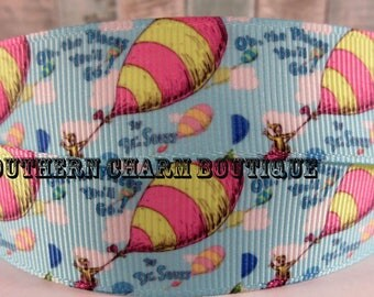 "3 yards 7/8 ""Oh the Places you will go"" grosgrain ribbon"