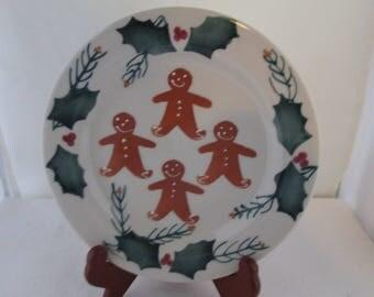 Hartstone Gingerbread Men Plate Christmas Plate Hartstone Plate Holiday plate Christmas decor Cookie plate Cookies for Santa Salad Plate
