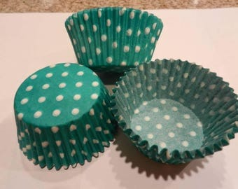 48 Green with White Polka Dots Standard Size Cupcake Liners Baking Cups Greaseproof Wrappers