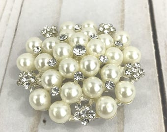 Pearl and rhinestone brooch - White pearl brooch - DIY bouquet brooch - DIY supply -