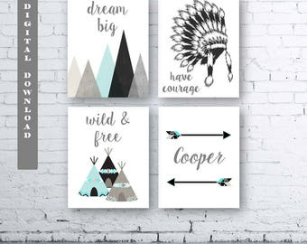 Boys Boho Wall Art-Set of Four (4) - Digital Download. Boho Tribal Nursery. Baby Boy Tribal Art. Boys Boho Bedroom Decor. Boys Tribal Art