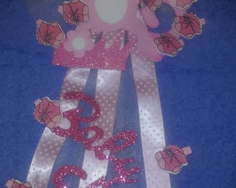 Baby Shower jungle monkey corsage and Clothespin Hang Clip Pink Girl Party Game