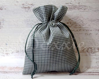 Green gingham country fabric bag 5x7 inch set of 6 cloth favor bags