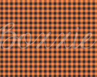 Orange buffalo plaid wrapping paper sheets lumberjack Halloween gift wrap GW1806