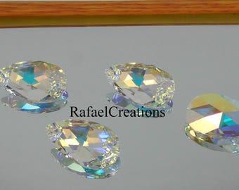 Swarovski Pendant2 x Pendant AB 6106 Genuine Swarovksi Crystal Pear  Teardrop 16 22 mm Necklace Findings Loose Bead Earring findings Glitter