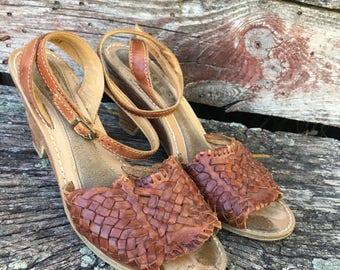 Vintage Wedge Sandals. 1990's 9 West Wedge Heels. Woven upper. Brazilian Huarache Sandals. Summer Shoes. HIgh Heel. Peep Toes. Women's 7 1/2