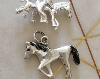 Two Vintage Sterling Silver Charms or Pendants. Italian Made.