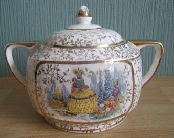 Vintage Ollivant Pottery Crinoline Lady Lidded Sugar Bowl