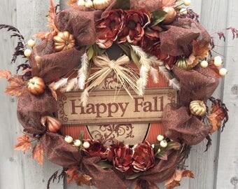 Happy Fall Door Wreath, Pumpkin Wreath,  Fall Front Door, Autumn Door Wreath,  Fall Decor, XL Fall Wreath, Magnolia Front Door Wreath