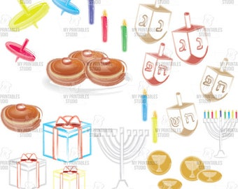 Hanukkah Jewish Holiday 23 watercolor clip arts - commercial use cliparts - Instant Download - Gifts, menorah, spinning top - png and jpg