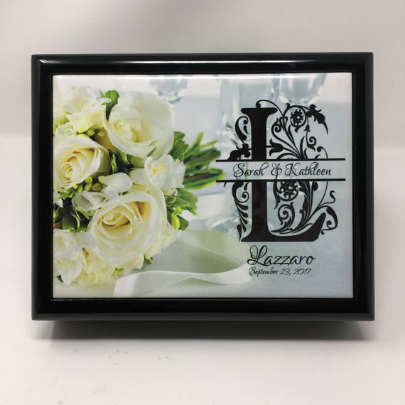 Wood Wedding jewelry or keepsake ring box with customized tile