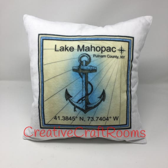 Personalized Home Latitude/Longitude Pillow cover, Lake Mahopac NY, Nautical Pillow, Wedding Pillow, Cushion Cover, Pillow Cover, New Home