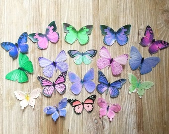 18 Pink Purple and Green Colorful Edible Butterflies Cake Toppers
