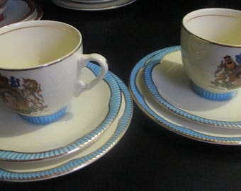 RARE Pair of Clarice Cliff 1953 Coronation of Queen Trio of Cup Saucer & Plate