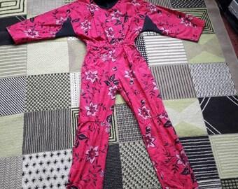 80sVintage floral pink and black boiler style jumpsuit