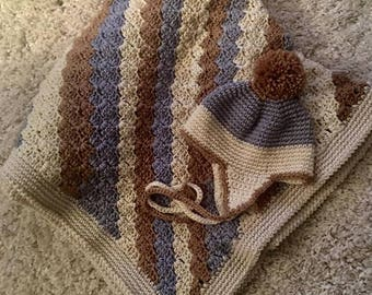 Baby Boy Blanket and Earflap Hat...Ready to Ship!