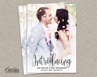 Wedding Announcement Photo Card | DIY Printable Calligraphy Introducing The New Mr And Mrs Marriage Announcements | Elegant Elopement Cards