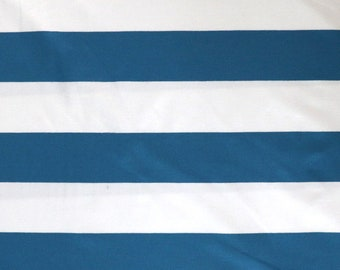 Fabric - Viscose elastane jersey fabric - Blue and white wide stripe - knit.