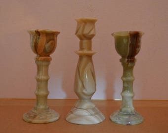 3 Vintage Marble Candle Stick Holders