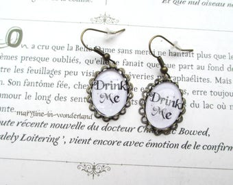 Earrings cabochon earrings drink me