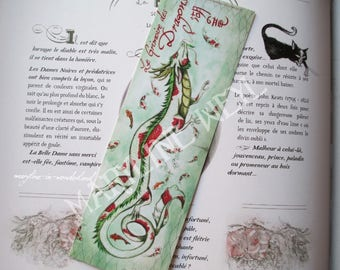 Bookmark dragon Chinese green red fish