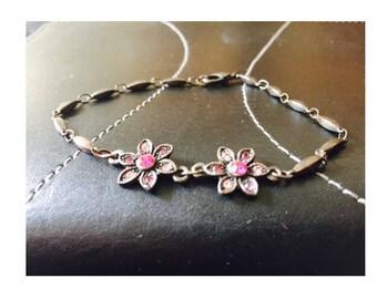Pink spring flowers bracelet