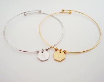 534. Dainty Hexagon Pendant Bracelet, Letter Bangle Bracelet, Initial Bracelet, Initial Custom, Personalized Bangle,Monogram Bracelet