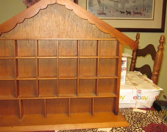 Vtg Wood House Shaped Miniature Trinket House Shaped Knick Knack Shelf 23 Squares for Goodies 22 1/4 by 20 1/4 by 4 1/4 Inches Approx