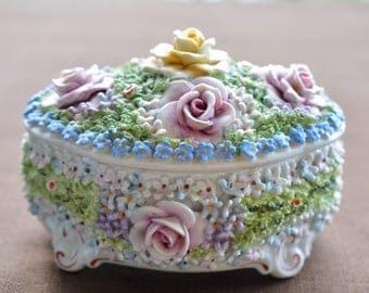 German Porcelain Vintage Trinket Box