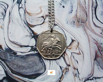 Cypriot 25 Cents Handmade Silver Coin Necklace - Silver Plated Chain.