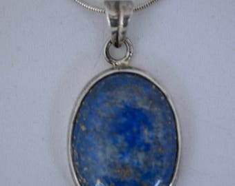 Vintage Lapis Lazuli and Sterling Silver Pendant on Chain