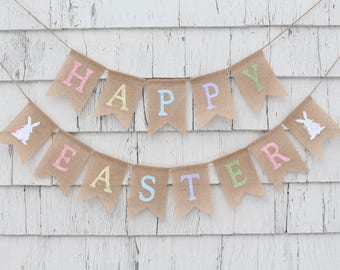 Easter Decor, Happy Easter Banner, Easter Bunting, Easter Garland, Easter Bunny Banner, Burlap Bunting Easter Spring Sign