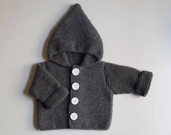 Jacket hood baby birth in 24 months knit woolen hand intoxicates(tints) with buttons fimo dough