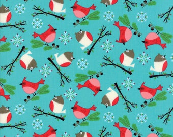 Jingle Birds by Keiki for Moda - 33251-14 - Blue Birds - Christmas Fabric, Christmas in July, IN STOCK
