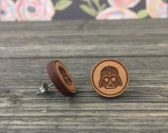 Darth Vader Themed Wooden Stud earrings