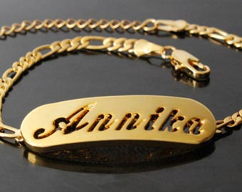"""Name Bracelet ANNIKA - Personalized Bracelet. 10"""" Figaro Chain with Gift Box and Gift Bag."""