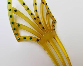 Hair Comb; Antique Hair Comb, Celluloid Hair Comb, Mantillas Hair Comb, Peineta Hair Comb, Rhinestone Hair Comb, Spanish Style Hair Comb