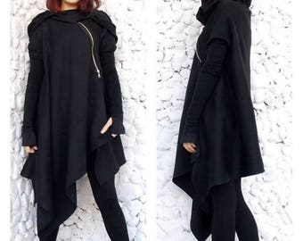 SALE 15% OFF Asymmetric Extravagant Black Coat,  Black Extravagant Coat, Loose Black Hooded Jacket, Black Hoodie TC03 by Teyxo
