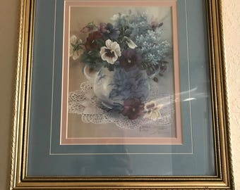 Lenu Liu Limited Edition Signed Pansies With Blue #1463 Of 2500 12x14