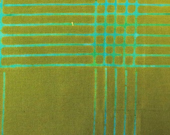 1/2 Yard Chroma Handcrafted Batik Plaid in Olive from Andover designed by Alison Glass 8132-G1