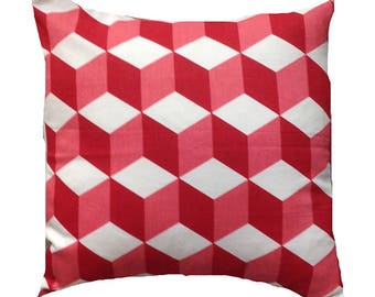 "Geometric And Vibrant Bright Red Cubes Design Cushion Cover 16"" X 16"""