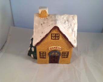 Vintage Enesco Porcelian Bakery Lighted Holiday House