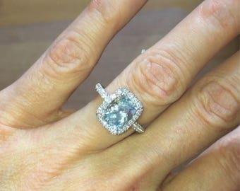 Aquamarine Engagement Ring 2.0ct Cushion Cut Aquamarine .64ct Diamonds classic HALO Wedding Ring Birthstone Pristine Custom Rings