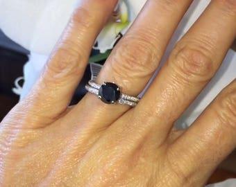Black Diamond Vintage Engagement Ring 1.99ct Round Black Diamond Ring .27ct Natural Diamond Wedding Set White Gold Pristine Custom Rings