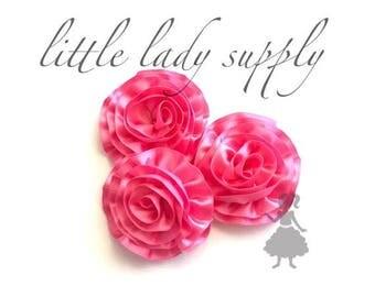 SHOP CLOSING WHOLESALE 10 Pink Ribbon Ruffled Flowers headband flowers fabric flowers satin flowers bulk flowers bulk wholesale flowers
