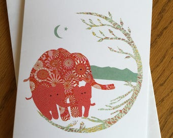 Mama Elephant 2 Babies, African card, nursery, baby cards, tree of life, whimsical, african art, african animal card, mother and baby