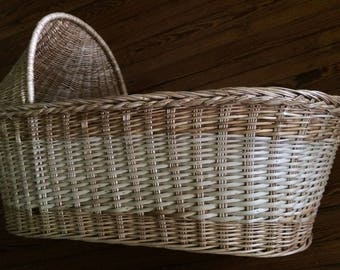 Handmade Baby Moses Basket, Moses Basket Baby Bassinet, Moses Basket Crib Baby Nursery Furniture, Baby Shower, Photo Prop, Hemp Natural